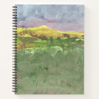 Mountain landscape with purple sky #1 spiral notebook