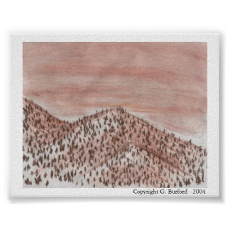 Mountain Landscape With Trees - Conte Poster