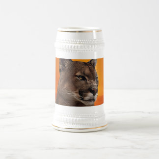 Mountain lion at sunset beer stein