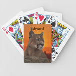 Mountain lion at sunset bicycle poker cards