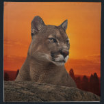 "Mountain lion at sunset cloth napkin<br><div class=""desc"">&quot;Puma meaning (as well as symbolism of mountain lions or cougars) speaks to us of inspection, observation and scrutiny. In the wild, this creature will stare at an object, unmoving, for what seems like an eternity. Further, she does this with stillness, patience. To those of us who heed the puma...</div>"