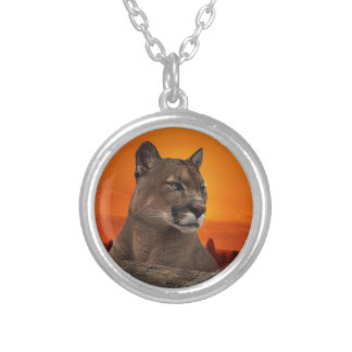 Mountain lion at sunset custom necklace