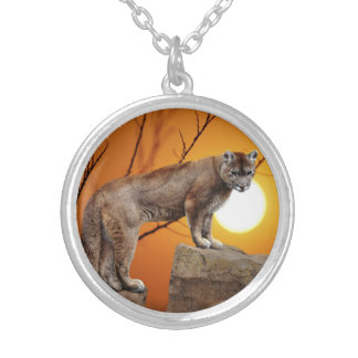 Mountain lion at sunset personalized necklace