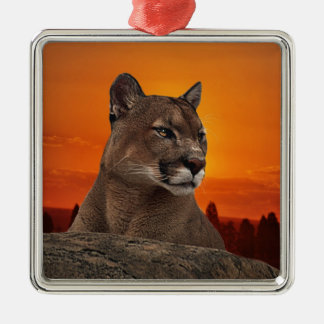 Mountain lion at sunset ornaments