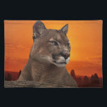 """Mountain lion at sunset placemat<br><div class=""""desc"""">&quot;Puma meaning (as well as symbolism of mountain lions or cougars) speaks to us of inspection, observation and scrutiny. In the wild, this creature will stare at an object, unmoving, for what seems like an eternity. Further, she does this with stillness, patience. To those of us who heed the puma...</div>"""