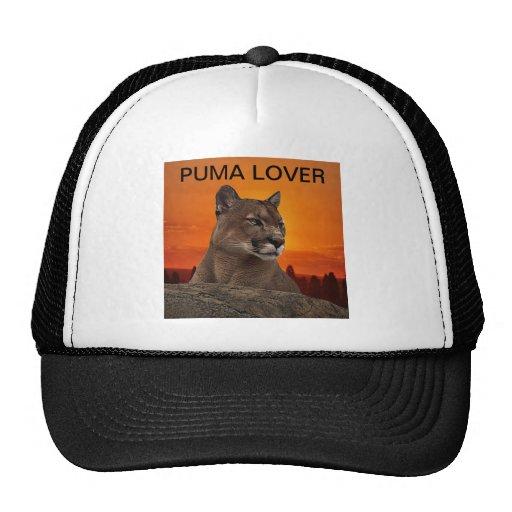 Mountain lion at sunset trucker hat