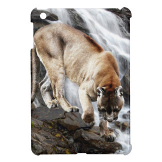 Mountain lion at the waterfall iPad mini cover