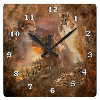 Mountain Lion Cougar Animal Collage Clock