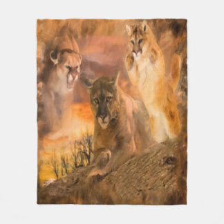 Mountain Lion Cougar Animal Collage Fleece Blanket