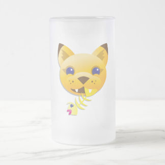 Mountain Lion Frosted Glass Beer Mug