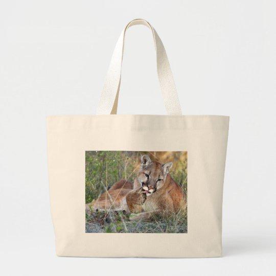 Mountain Lion - Hmmm Large Tote Bag