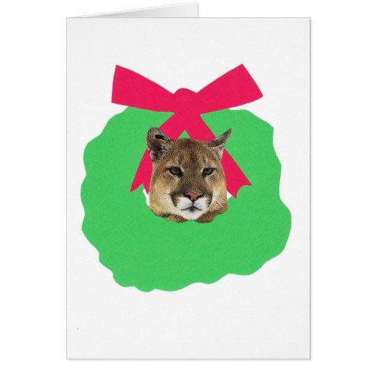 Mountain Lion Holiday Christmas Wreath Card