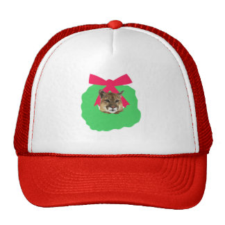 Mountain Lion Holiday Christmas Wreath Trucker Hat