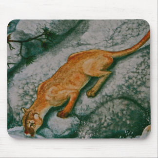 MOUNTAIN LION ON THE ROCKS MOUSE PAD