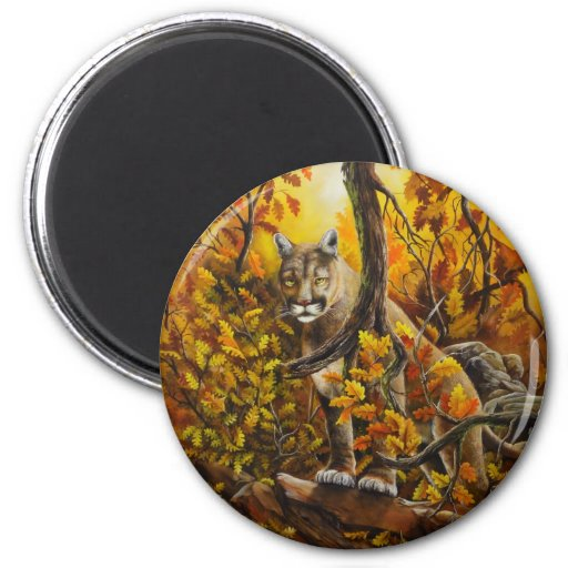 Mountain Lion painting on customizable products 2 Inch Round Magnet