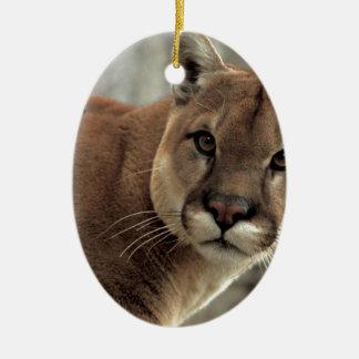 Mountain Lion Striking a Pose Ceramic Ornament