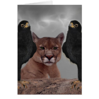 Mountain lion with eagles greeting card