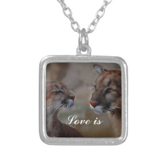 Mountain lions in love personalized necklace