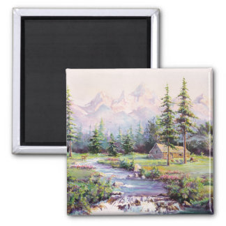 MOUNTAIN LOG CABIN by SHARON SHARPE 2 Inch Square Magnet