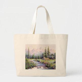 MOUNTAIN LOG CABIN by SHARON SHARPE Jumbo Tote Bag