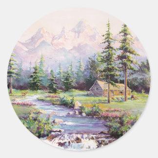 MOUNTAIN LOG CABIN by SHARON SHARPE Classic Round Sticker