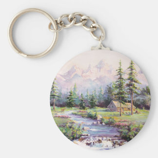 MOUNTAIN LOG CABIN by SHARON SHARPE Keychain