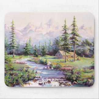 MOUNTAIN LOG CABIN by SHARON SHARPE Mouse Pad