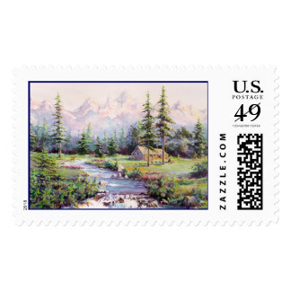 MOUNTAIN LOG CABIN by SHARON SHARPE Postage