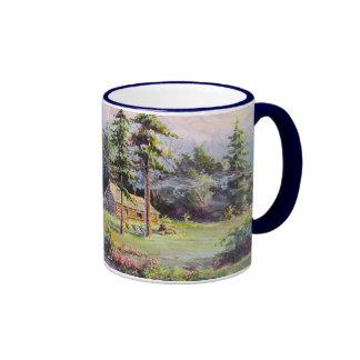 MOUNTAIN LOG CABIN by SHARON SHARPE Ringer Mug