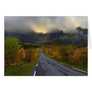Mountain Massif of Flakstadoya Island Norway Greeting Card