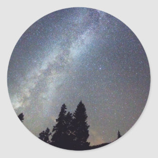 Mountain Milky Way Stary Night View Classic Round Sticker