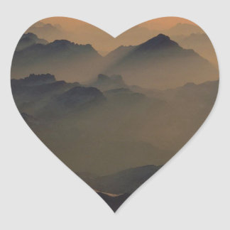Mountain Misty Peaks Alps Austria Heart Sticker