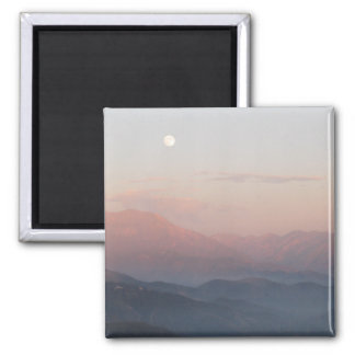 Mountain Moon 2 Inch Square Magnet