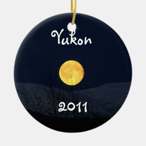 Mountain Moon; Yukon Territory Souvenir Double-Sided Ceramic Round Christmas Ornament