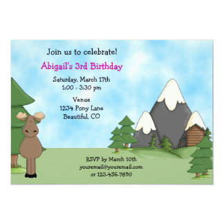 Mountain Moose Birthday Invitation for Girls