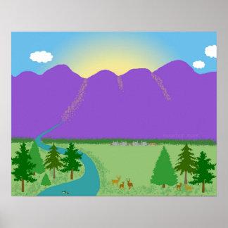 Mountain Morn original digital drawing Poster