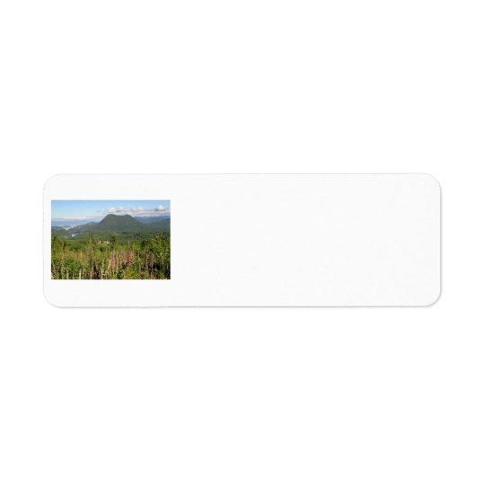 Mountain, Ocean, and Wildflowers Photo Label