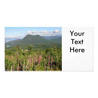 Mountain, Ocean, and Wildflowers Photo Photo Cards