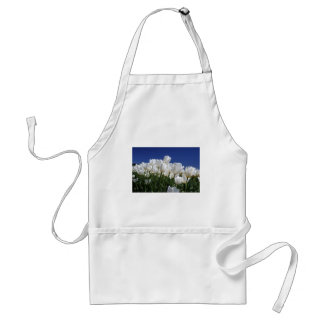 Mountain of white tulips against a blue sky adult apron