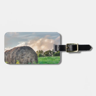 Mountain pasture hay bale tag for luggage