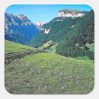 Mountain pasture square sticker