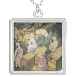 Mountain pastures silver plated necklace