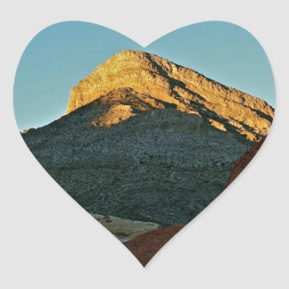 MOUNTAIN PEAK LIT AT SUNSET IN HIGH DESERT HEART STICKER