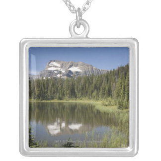 Mountain Peak Reflected In A Lake Silver Plated Necklace