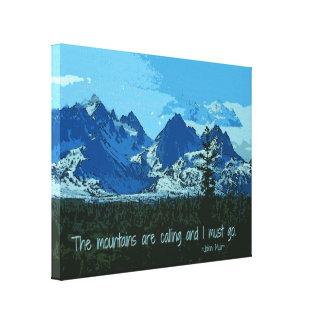 Mountain Peaks digital art - John Muir quote Canvas Print