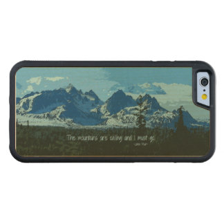 Mountain Peaks digital art - John Muir quote Carved Maple iPhone 6 Bumper Case