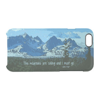 Mountain Peaks digital art - John Muir quote Clear iPhone 6/6S Case