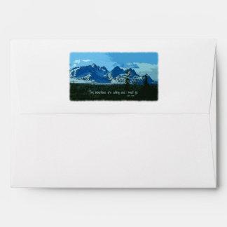 Mountain Peaks digital art - John Muir quote Envelope