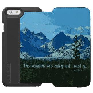 Mountain Peaks digital art - John Muir quote iPhone 6/6s Wallet Case