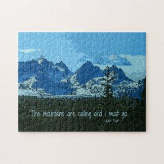 Mountain Peaks digital art - John Muir quote Jigsaw Puzzle